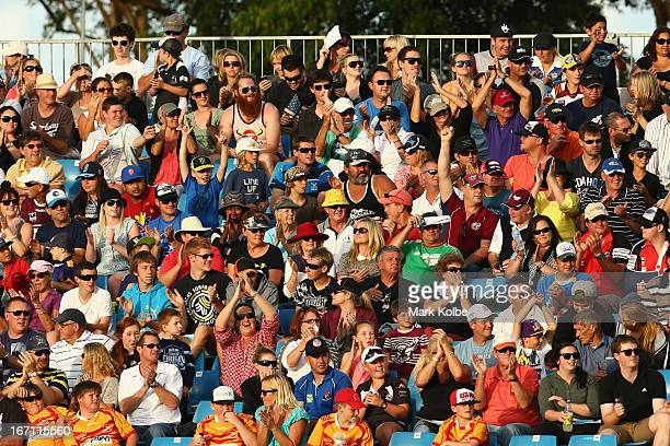 The crowd watch on during the Origin match between City and Country at BCU International Stadium on April 21 2013 in Coffs Harbour Australia