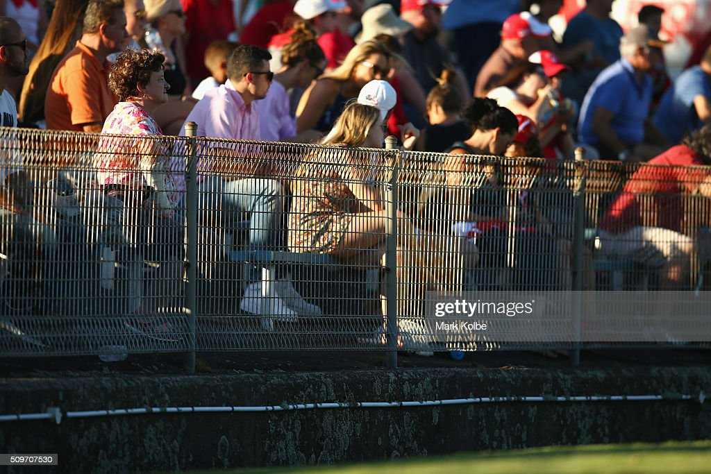 The crowd watch on during the Sydney Swans AFL intra-club match at Henson Park on February 12, 2016 in Sydney, Australia.