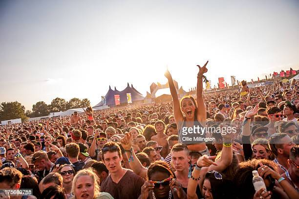 The crowd watch on while Disclosure perform on stage on Day 1 of Global Gathering 2013 on July 26 2013 in StratforduponAvon England