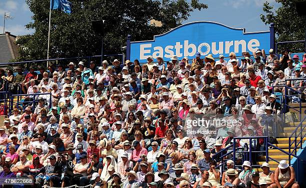 The crowd watch the action on centre court on day six of the Aegon International at Devonshire Park on June 26 2015 in Eastbourne England