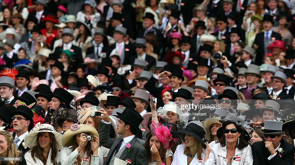 The crowd watch the finish of The Chesham Stakes Race on The 4th Day of The Royal Meeting at Ascot Racecourse on June 20, 2009 in Ascot, England.