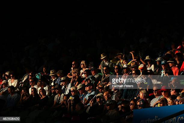 The crowd watches the semifinal between Stanislas Wawrinka of Switzerland and Novak Djokovic of Serbia at Rod Laver Arena during day 12 of the 2015...