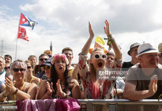 The crowd watching a performance by English National Ballet of 'Lest We Forget' about the First World War on the Pyramid Stage at the Glastonbury...