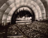 The crowd watching a show at the Radio City Music Hall inside the Rockefeller Centre New York