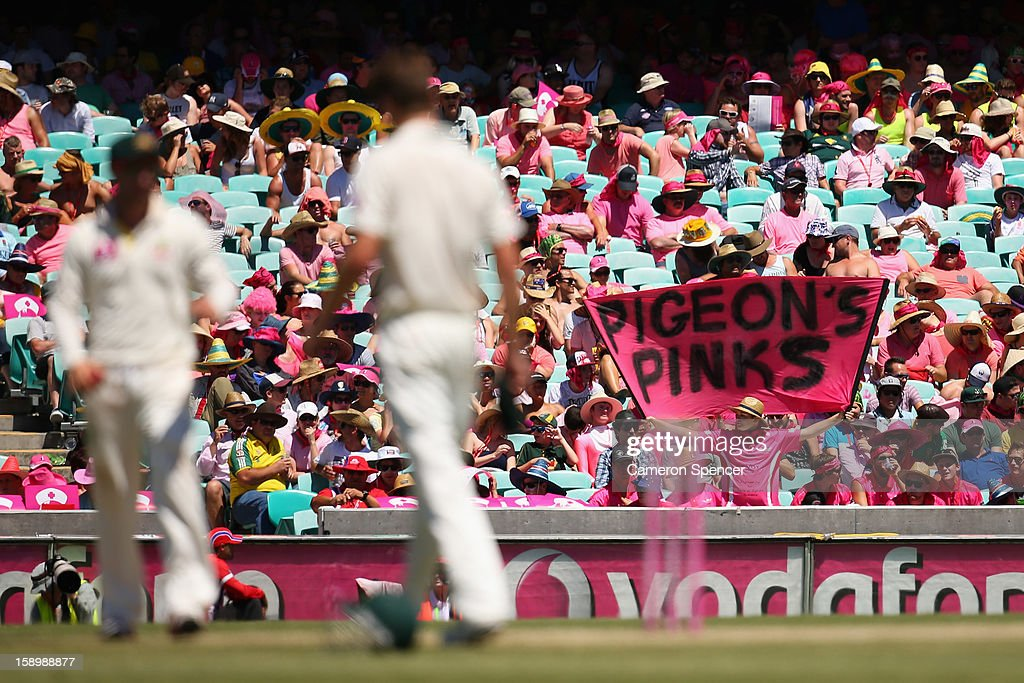 The crowd wearing pink on Jane McGrath Pink Day during day three of the Third Test match between Australia and Sri Lanka at Sydney Cricket Ground on January 5, 2013 in Sydney, Australia.