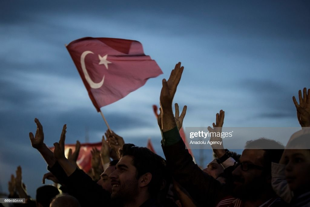 The crowd, who are celebrating the results of the referendum, listen to Turkish President Recep Tayyip Erdogan (not seen) at the Presidential Complex in Ankara, Turkey on April 17, 2017.