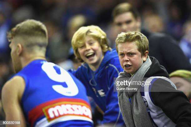 The crowd yells at Jake Stringer of the Bulldogs during the round 14 AFL match between the Western Bulldogs and the North Melbourne Kangaroos at...