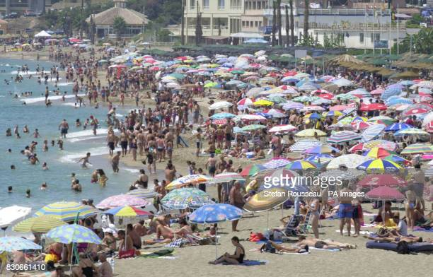 The crowded beach at Benalmadena on the Costa Del Sol in Spain despite a series of bomb alerts across the country in the recent days Million Britons...