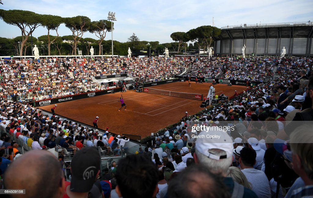 The crowds watch as Juan Martin Del Potro of Argentina serves to Kei Nishikori of Japan during their 3rd round match in The Internazionali BNL d'Italia 2017 at Foro Italico on May 18, 2017 in Rome, Italy.