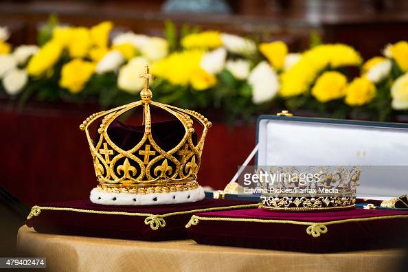 The crown and coronet is seen for King Tupou VI of Tonga and Queen Nanasipau'u during the official coronation ceremony at the Free Wesleyan Church on...