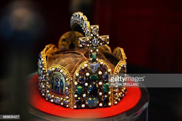 The crown of Charlemagne is photographed inside the coronation hall of the townhall of Aachen western German on January 28 on the 1200th anniversary...