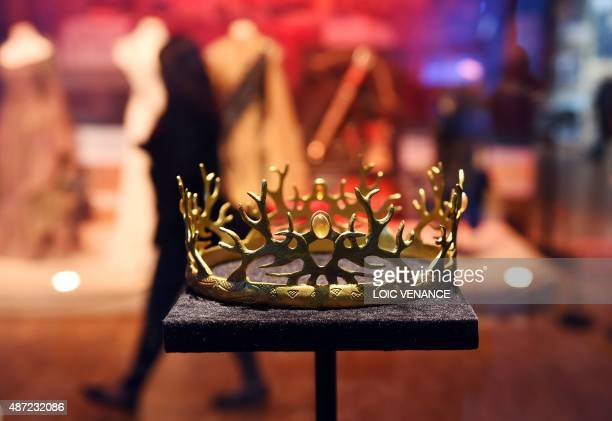 The crown of the House of Baratheon is pictured on September 7 2015 during the opening of an exhibition dedicated to HBO's television medieval...