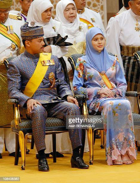 The Crown prince Duli Yang and his wife Sarah during the Royal Istiadat Berbedak Ceremony at the royal Palace Istana Iman in Brunei Darussalam on...