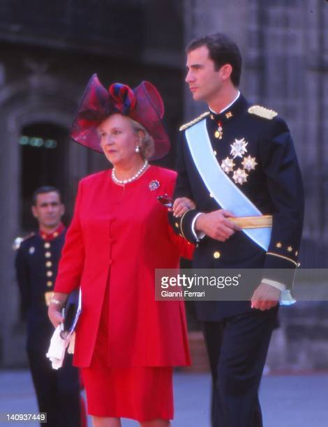 The Crown Prince Felipe and his aunt the Infanta Pilar sister of Spanish King Juan Carlos at the wedding of the Infanta Cristina 4th October 1997...