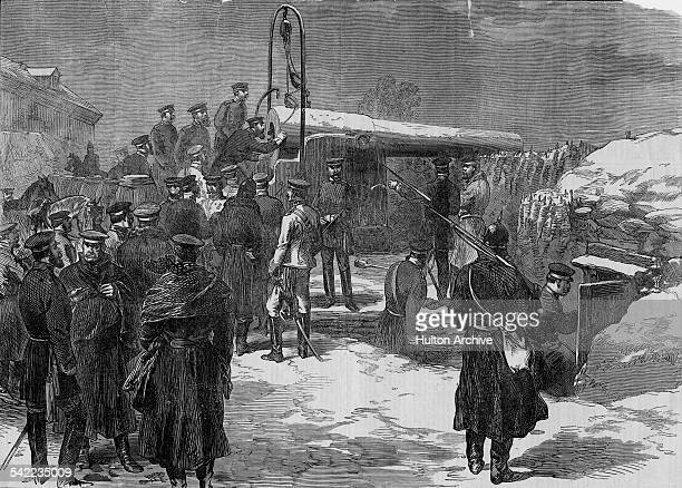 The Crown Prince Frederick of Prussia visits an entrenched Prussian siege artillery battery sighting it's guns from Mont Valerien on Paris at the...