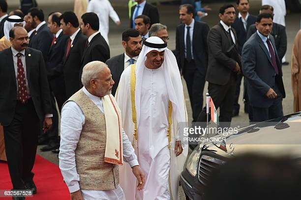 The Crown Prince of Abu Dhabi and Deputy Supreme Commander of United Arab Emirates Armed Forces General Sheikh Mohammed Bin Zayed Al Nahyan walks...