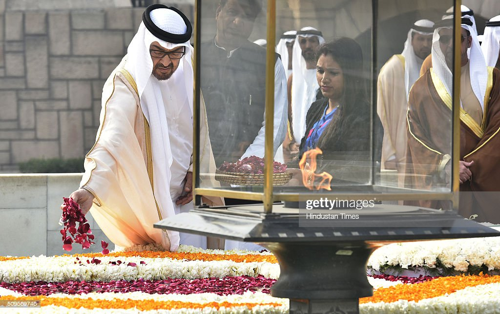 The Crown Prince of Abu Dhabi Sheikh Mohammed Bin Zayed Al Nahyan paying homage at the Samadhi of Mahatma Gandhi, at Rajghat looks on February 11, 2016 in New Delhi, India. In a departure from protocol, Prime Minister Narendra Modi received Abu Dhabis Crown Prince at the airport as he arrived in New Delhi for a three-day state visit. Hours after his arrival, Al Nahyan expressed his keenness to strengthen strategic relationship between the two countries. At present, India is UAEs number one trading partner with total trade pegged at $60 billion in 2015. UAE was the sixth largest source of crude oil import for India in 2014-15.