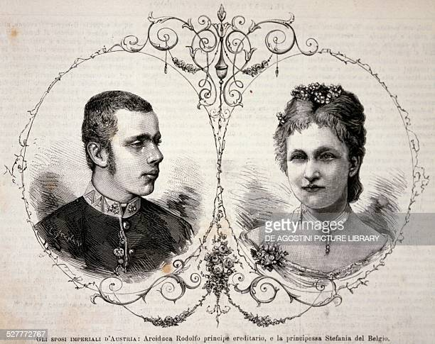 The Crown Prince of AustriaHungary Rudolf of HabsburgLorraine and his wife Stephanie of SaxeCoburgGotha Princess of Belgium May 2 engraving Austria...