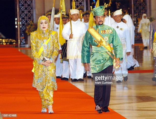 The Crown Prince Of Brunei Darussalam And His Bride Princess Dayangku Sarah Binti Pengiran Salleh Ab Rahaman Were Taking Part In The Traditional...