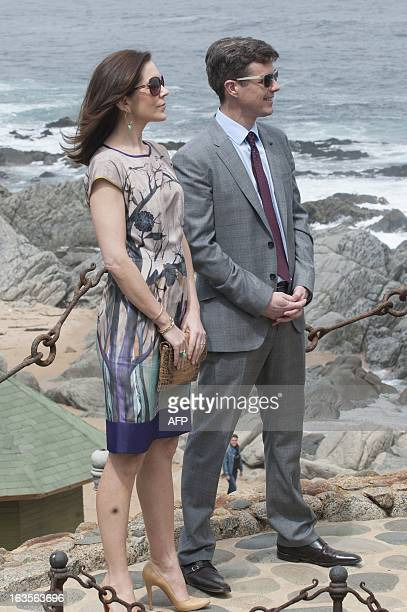 The Crown Prince of Denmark Frederick and his wife Mary Donaldson visit the residence of late Chilean poet Pablo Neruda in Isla Negra Chile on March...