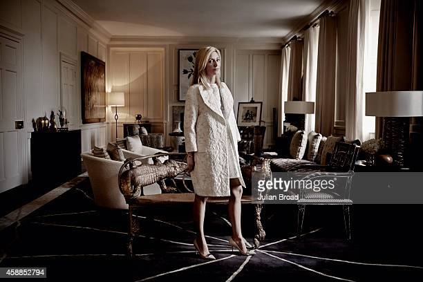 The Crown Princess of Greece Princess of Denmark children's clothes designer Marie Chantal Miller is photographed for Porter magazine on December 12...