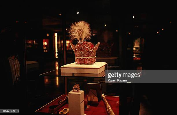 The crown worn by the Shah of Iran during his coronation ceremony in a glass case at Tehran's high security central bank where thousands of pieces of...