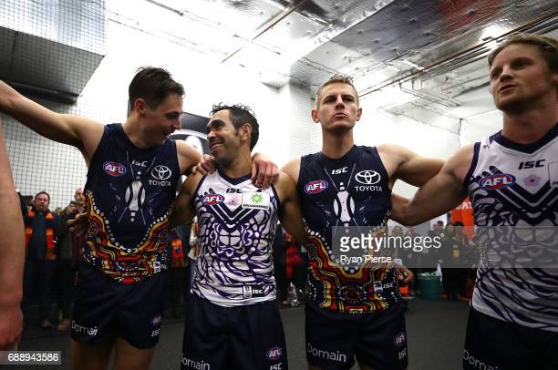 The Crows sing the club song after the round 10 AFL match between the Adelaide Crows and the Fremantle Dockers at Adelaide Oval on May 27 2017 in...