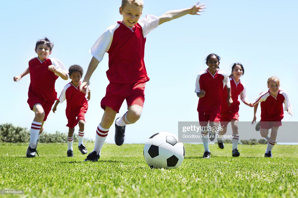 The crucial kick : Stock Photo