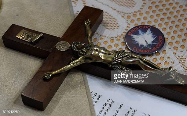The crucifix of Bishop Manuel Acuna on the altar during a ritual at the 'El Buen Pastor' parish in Santos Lugares outskirts of Buenos Aires on...