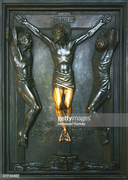 'The Crucifixion panel of the Holy Door made by the sculptor Vico Consorti for Saint Peter's Basilica The door is opened only in the jubilee years...