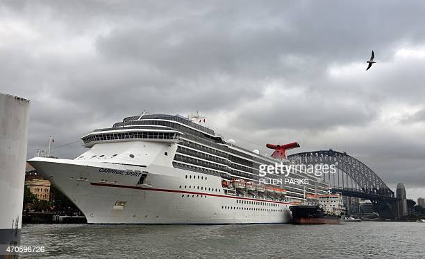 The cruise ship Carnival Spirit is seen docked in Sydney Harbour after monster seas abated enough for the ship that had been stuck on the open ocean...