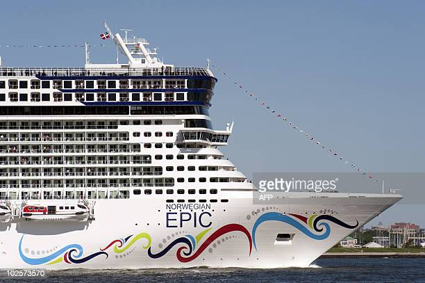 The cruise ship Norwegian Epic as she sails up the Hudson River July 1 2010 in New York The Norwegian Cruise Line ship on her Maiden Voyage from...