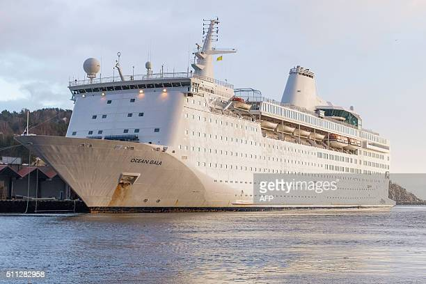 The cruise ship 'Ocean Gala' is pictured docked in Kristiansand Norway on February 19 2016 The cruise ship which will be used to house migrans in...