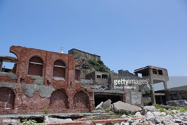 The crumbling remains of Hashima's main coal extraction facility on July 16 2015 in Nagasaki Japan Hashima aka Battleship Island Japan's 'Sites of...