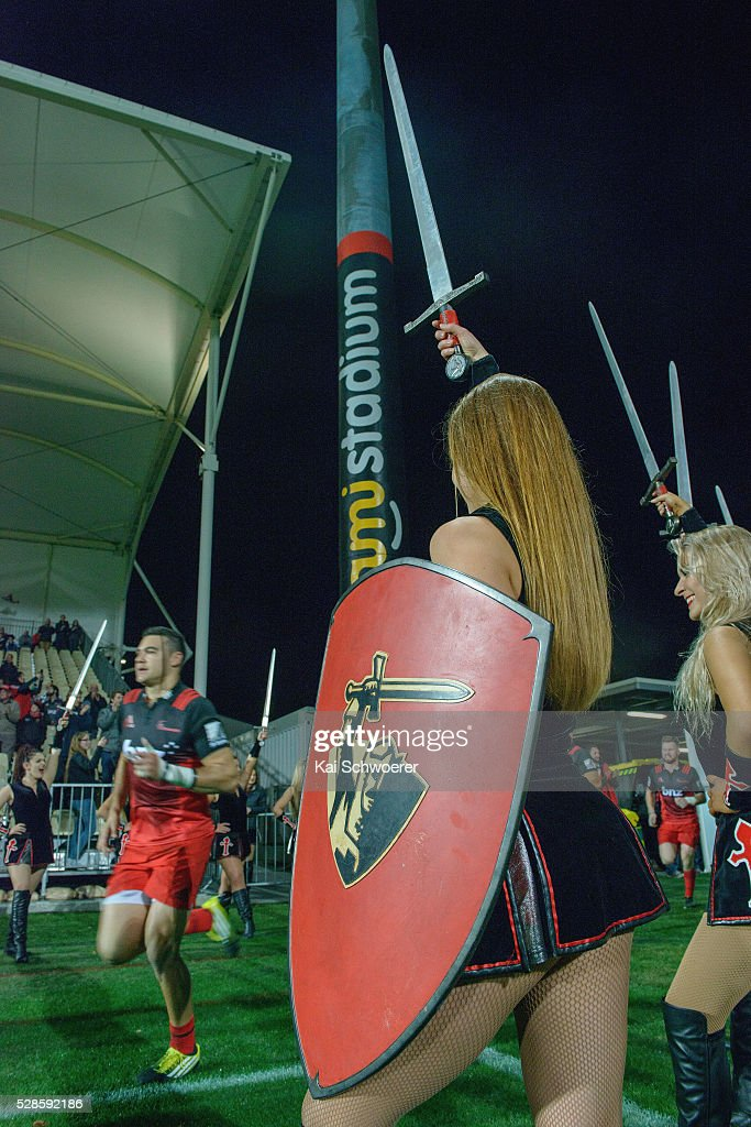 The Crusader maidens perform as the players run onto the field prior to the round 11 Super Rugby match between the Crusaders and the Reds at AMI Stadium on May 6, 2016 in Christchurch, New Zealand.
