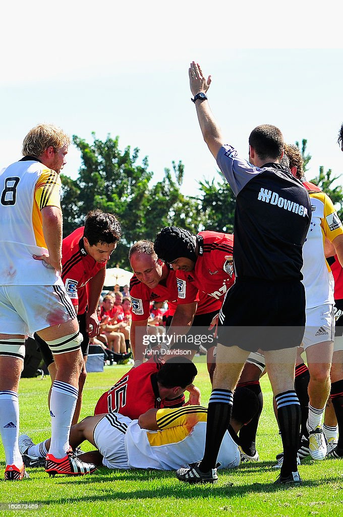 The Crusaders celebrate Tom Marshalls' try, during the 2013 Super Rugby pre-season friendly match between the Crusaders and the Hurricanes at Alpine Stadium on February 2, 2013 in Timaru, New Zealand.