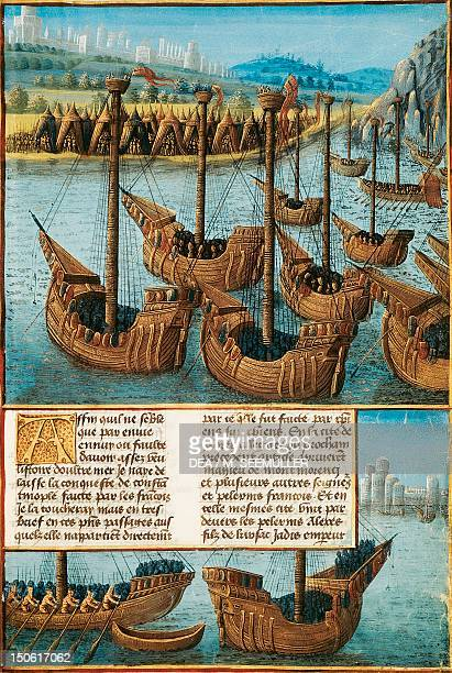 The Crusaders' fleet sailing past the Bosphorus miniature from the Traie des passages d'outre mer by Mamerot 15th century French manuscript Crusades...