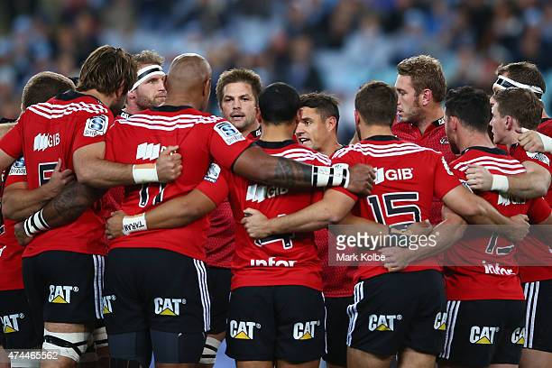 The Crusaders form a huddle before the match during the round 15 Super Rugby match between the Waratahs and the Crusaders at ANZ Stadium on May 23...