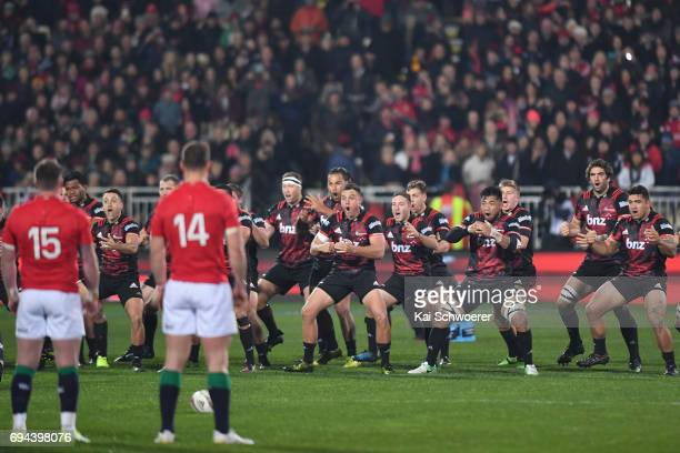 The Crusaders perform the Haka prior to the match between the Crusaders and the British Irish Lions at AMI Stadium on June 10 2017 in Christchurch...