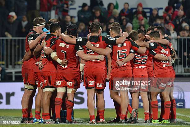 The Crusaders players have a team talk after their defeat in the round 17 Super Rugby match between the Crusaders and the Hurricanes at AMI Stadium...