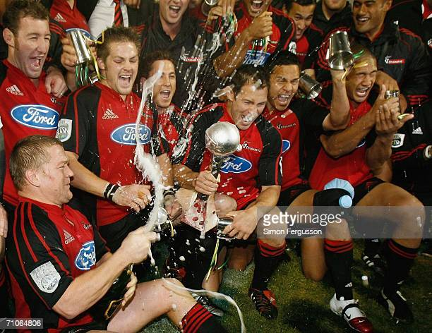 The Crusaders team celebrate after winning the Super 14 final match between the Crusaders and the Hurricanes at Jade Stadium May 27 2006 in...