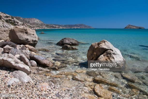 The crystal clear sea of Damatria Beach