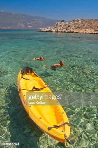 The crystal clear seawater in Kastellorizo harbour