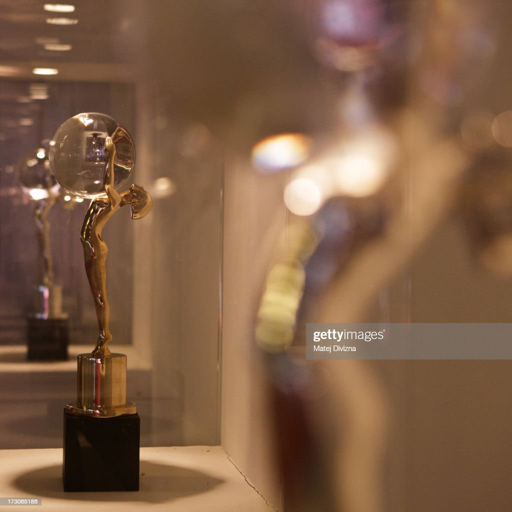 The Crystal Globe Award trophies are seen during the 48th Karlovy Vary International Film Festival (KVIFF) on July 05, 2013 in Karlovy Vary, Czech Republic.