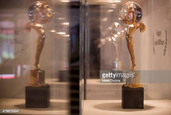 The Crystal Globe Award trophy is seen during the 50th Karlovy Vary International Film Festival on July 4 2015 in Karlovy Vary Czech Republic