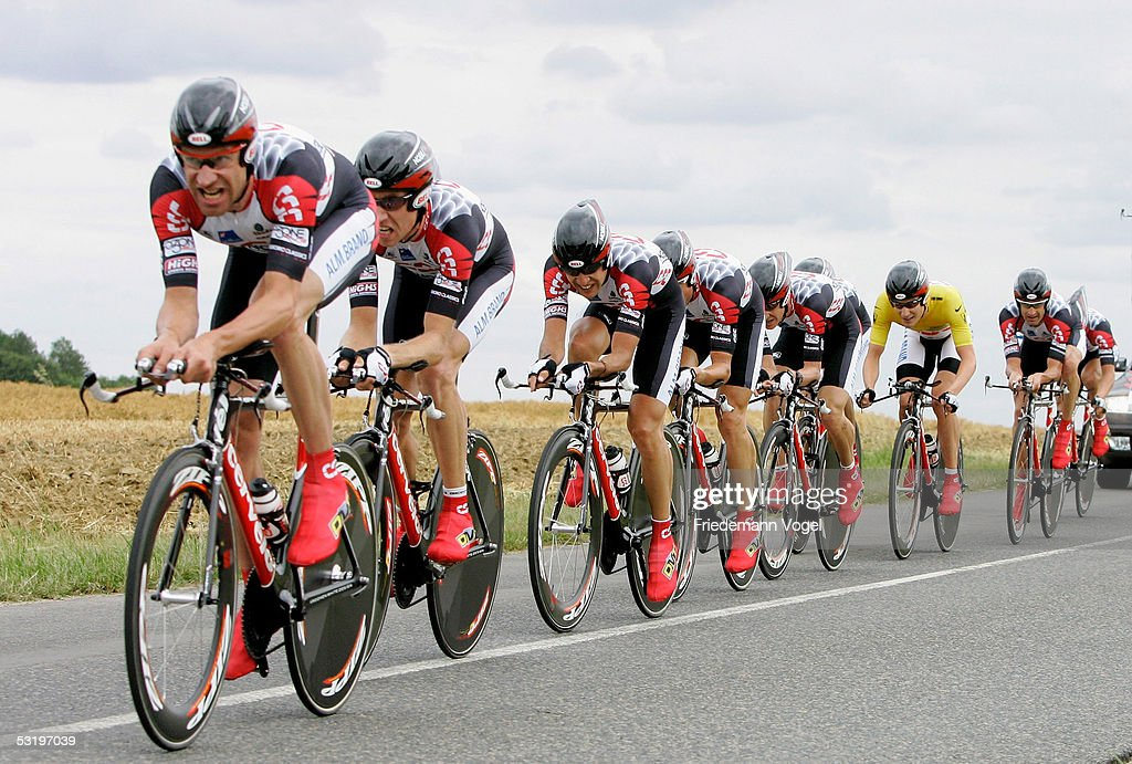 The CSC team and David Zabriskie of the US in the yellow jersey ride during the Stage 4 team time trial in the 92nd Tour de France between Tours and...