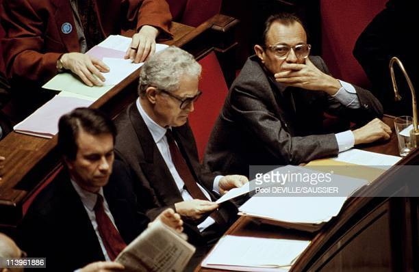 The CSG Bill under Debate at French National Assembly In Paris France On November 19 1990 French Prime Minister Michel Rocard with Lionel Jospin and...