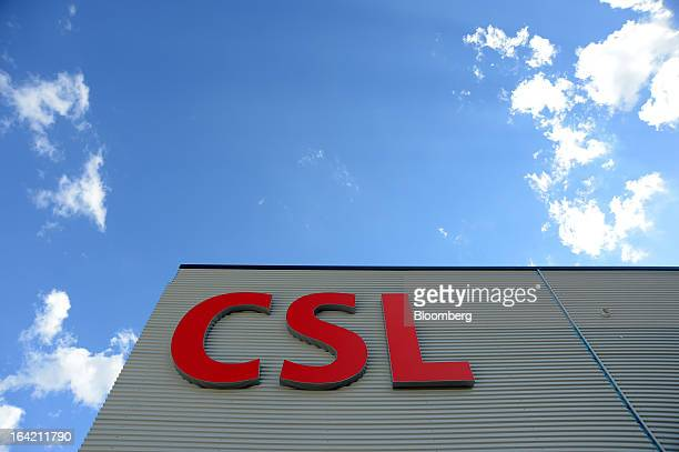 The CSL Ltd  logo marks the entrance to the CSL Behring