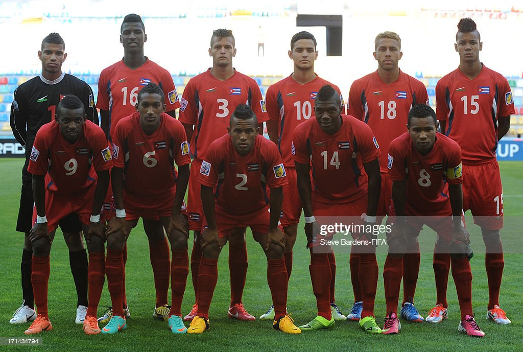 The Cuba players line up for a team photograph before the FIFA U-20 World Cup Group B match between Cuba and Nigeria at Kadir Has Stadium on June 24, 2013 in Kayseri, Turkey.