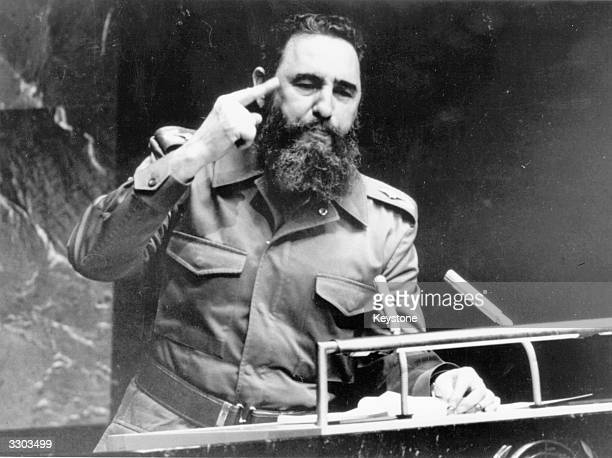 The Cuban revolutionary Fidel Castro Prime Minister from February 1959 addressing the United Nations in New York